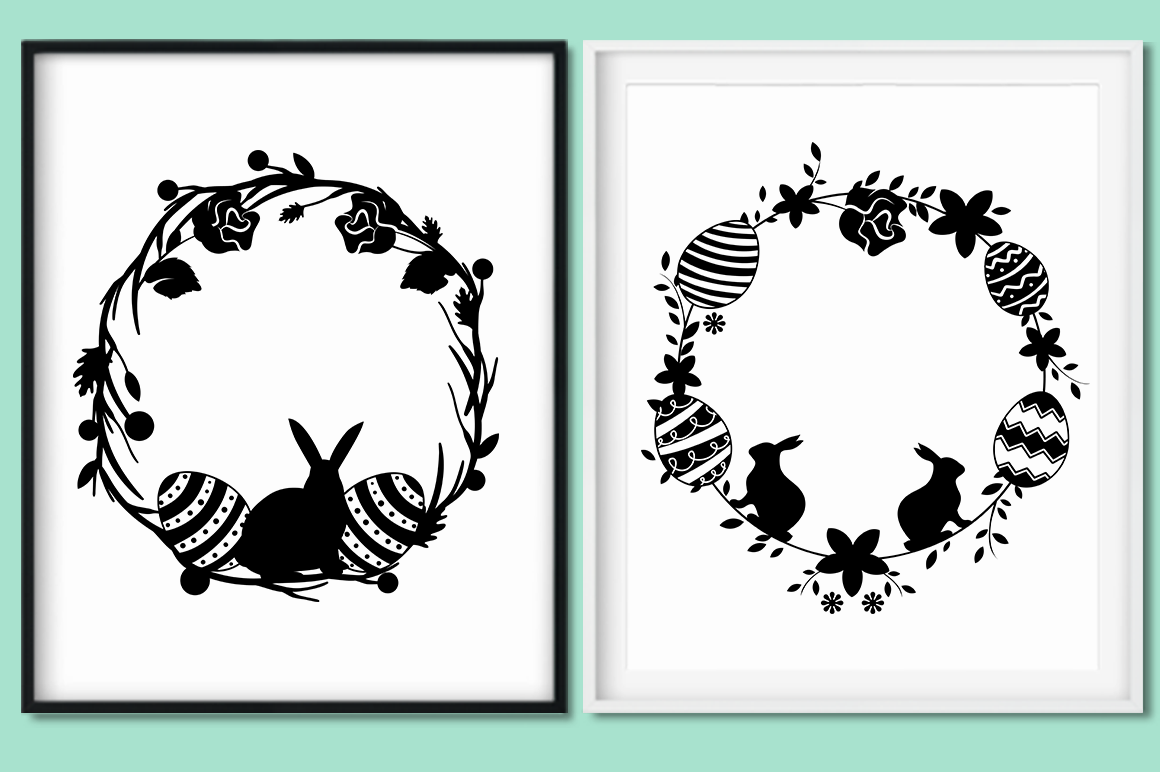 Easter Wreaths SVG Cut Files Pack example image 3