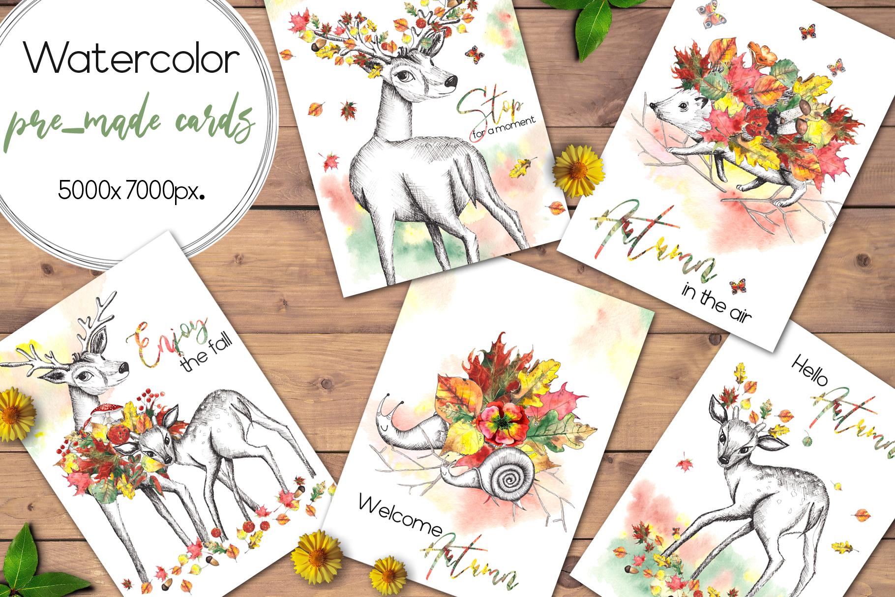 Watercolor autumn BUNDLE example image 6