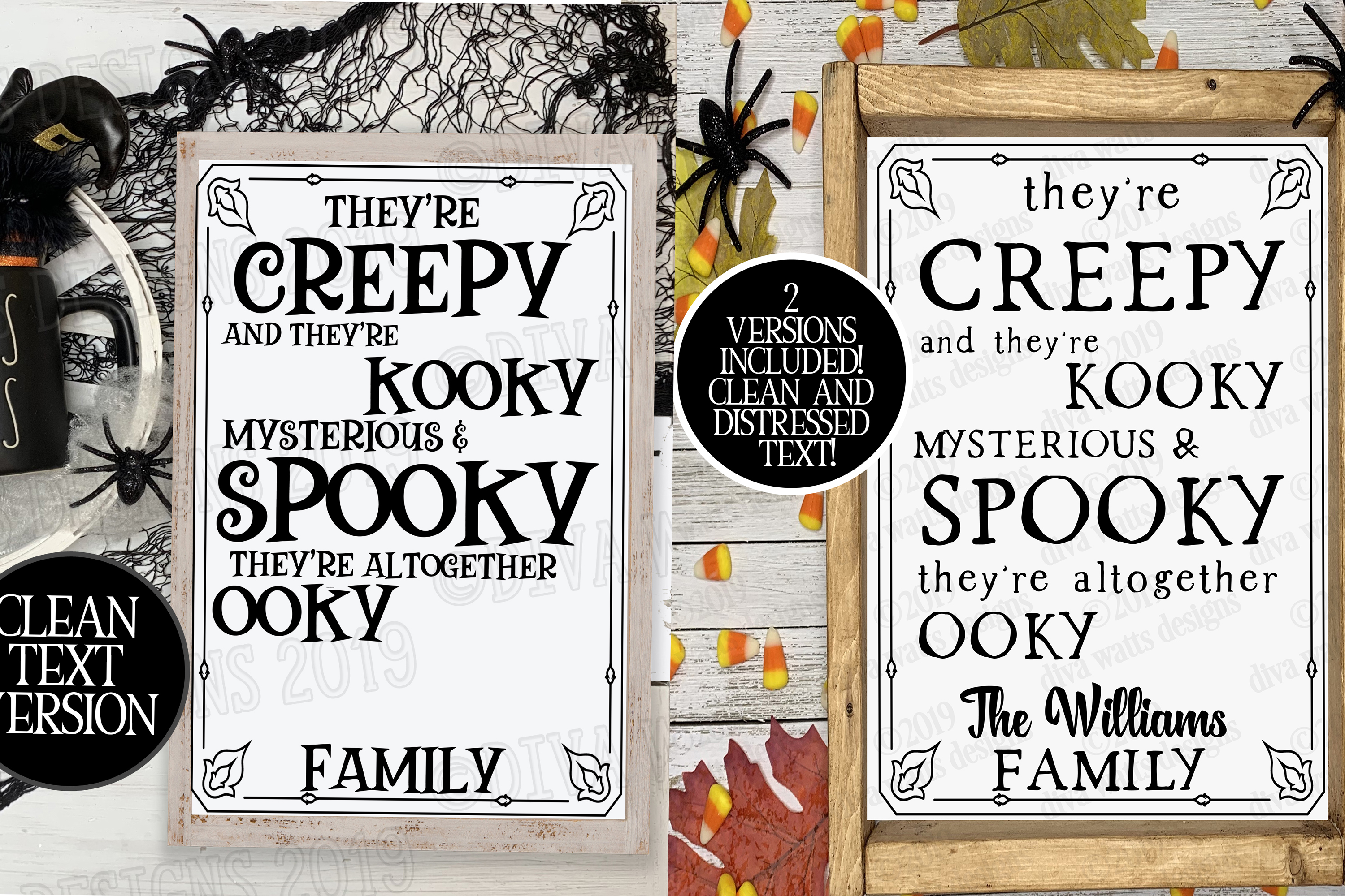 Creepy & Kooky Mysterious Spooky Halloween Family Name Sign example image 2