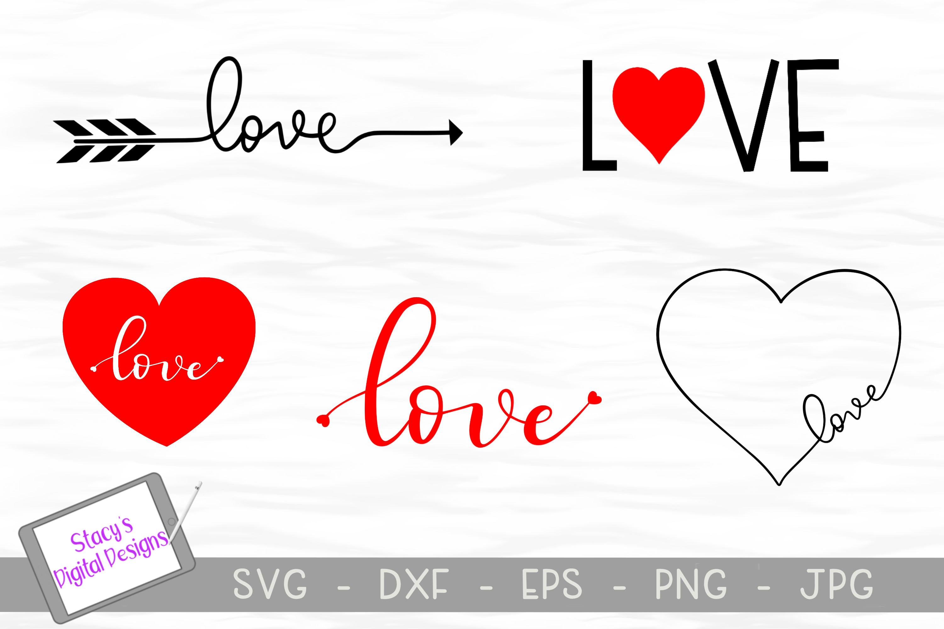 Download Love SVG Bundle - 5 Valentine SVG files (162497) | Cut ...
