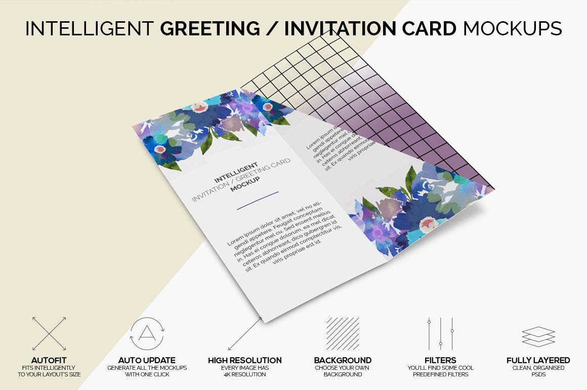 Intelligent Invitation / Greeting Card Mockup example image 5