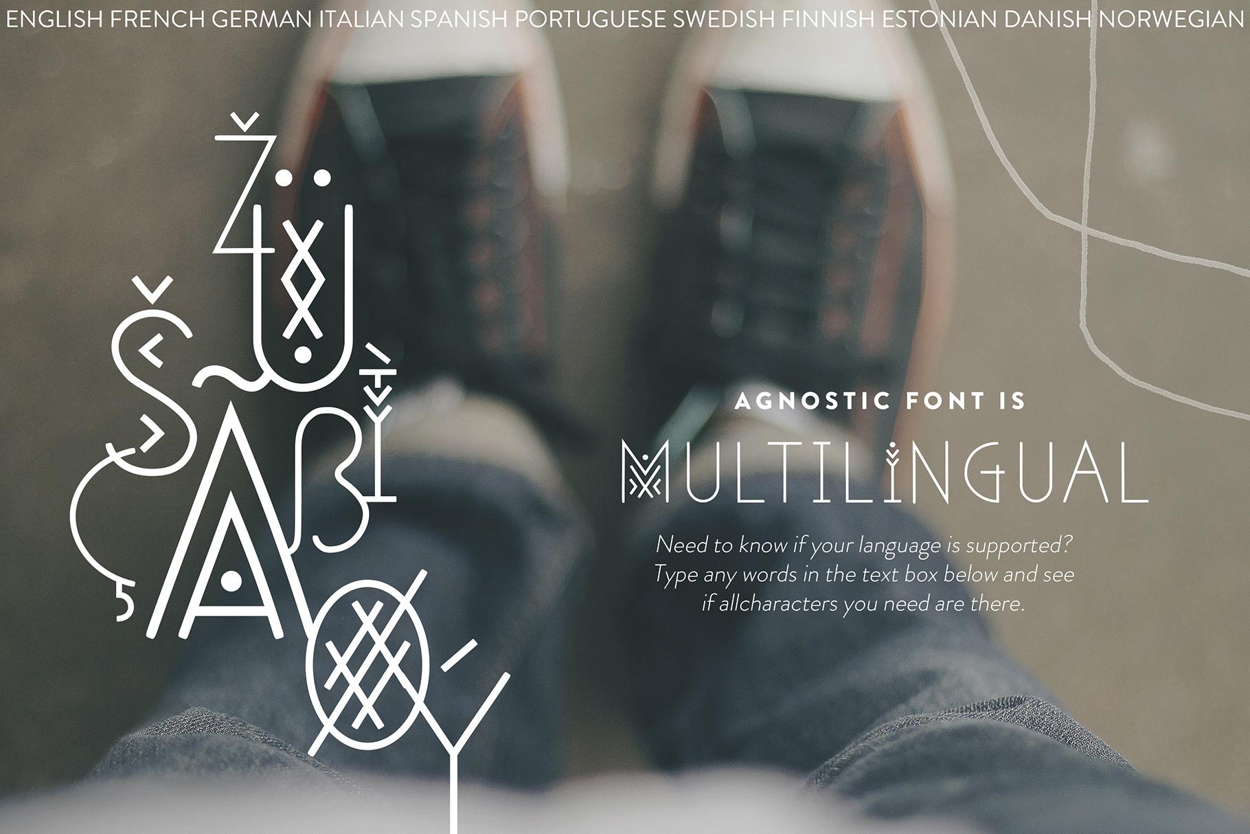 Agnostic - Thin Line Geometric Font example image 7