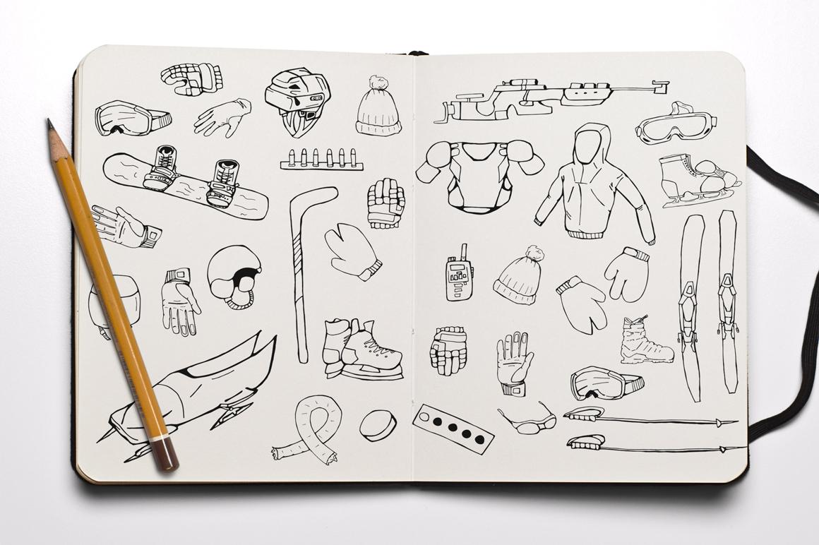 Hand drawn winter sports equipment example image 1