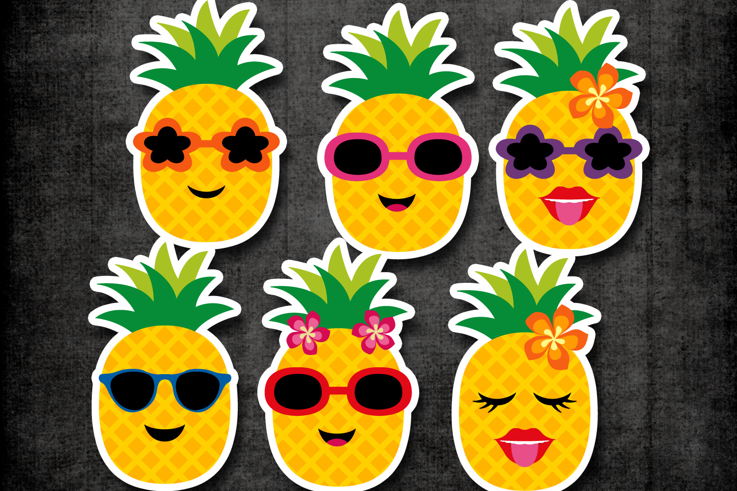 Summer pineapple with glasses clipart graphics