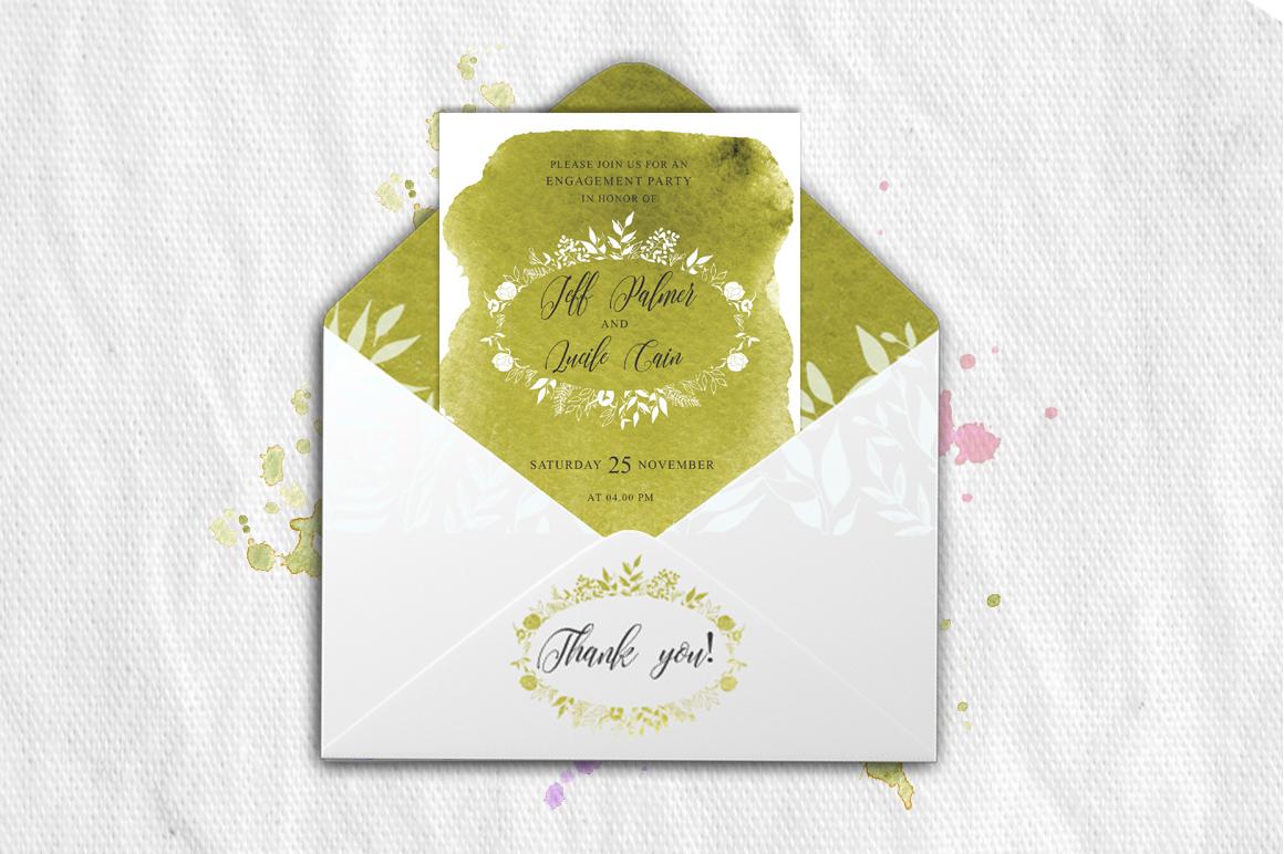 Greenery Watercolor Spring Wedding Invitation suite example image 3