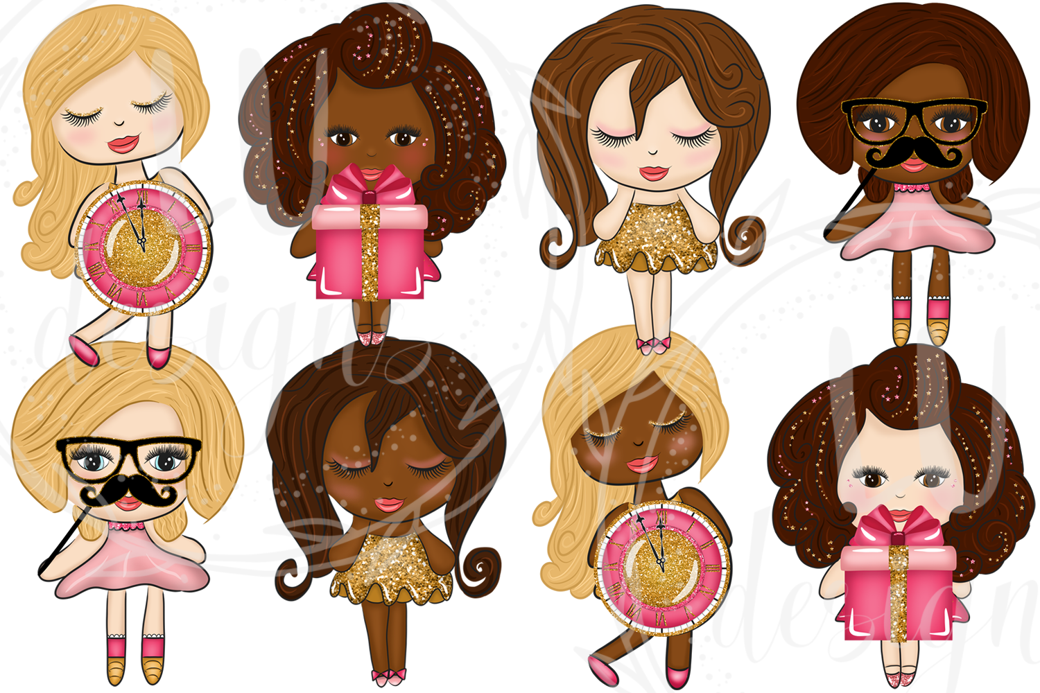 New Year Clipart, New Year Graphics, Party Cute Dolls example image 3