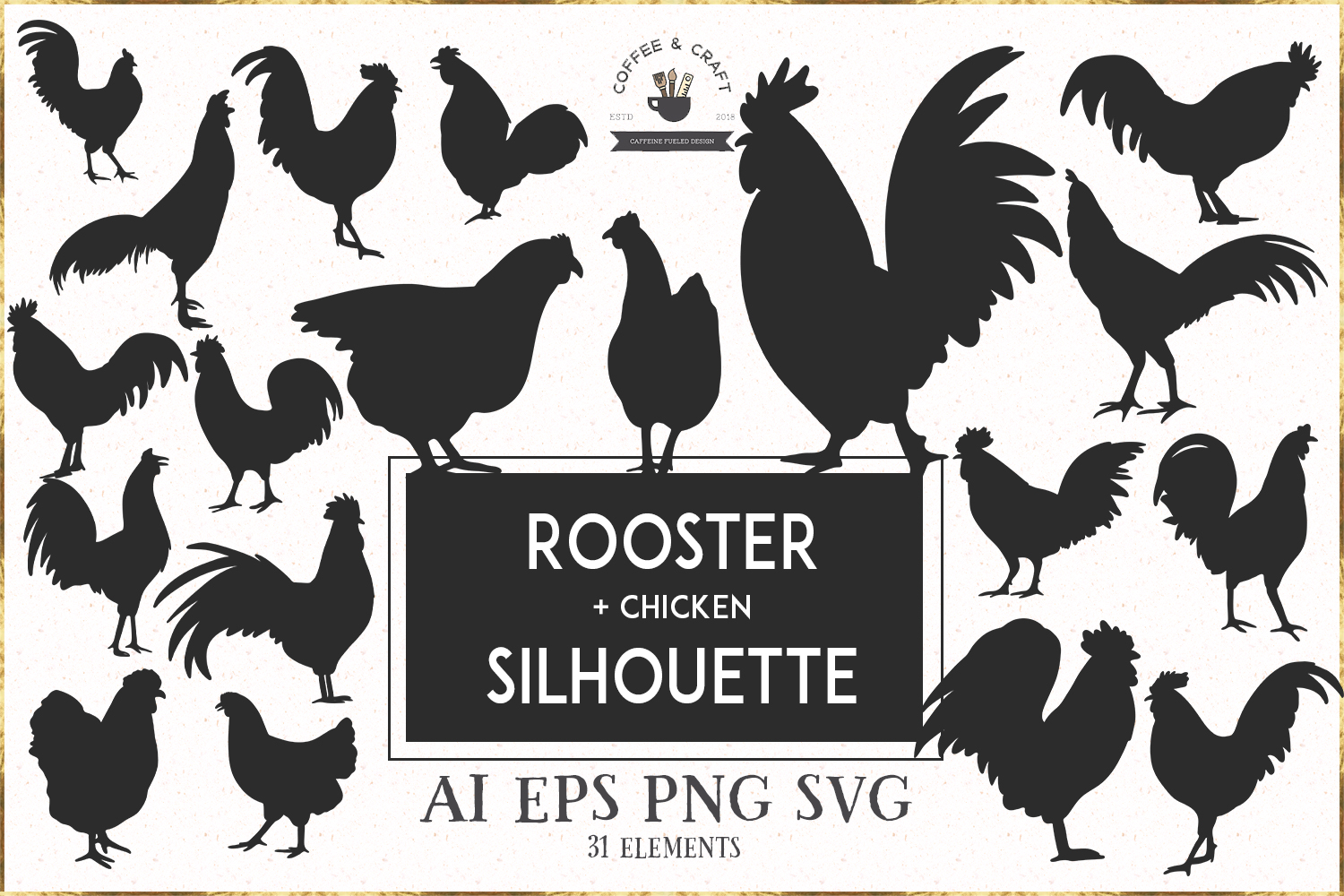Rooster silhouette set example image 1