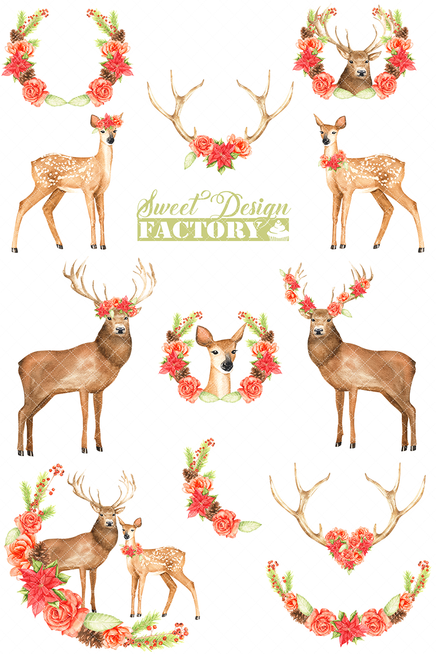 Deers and flowers cliparts example image 3