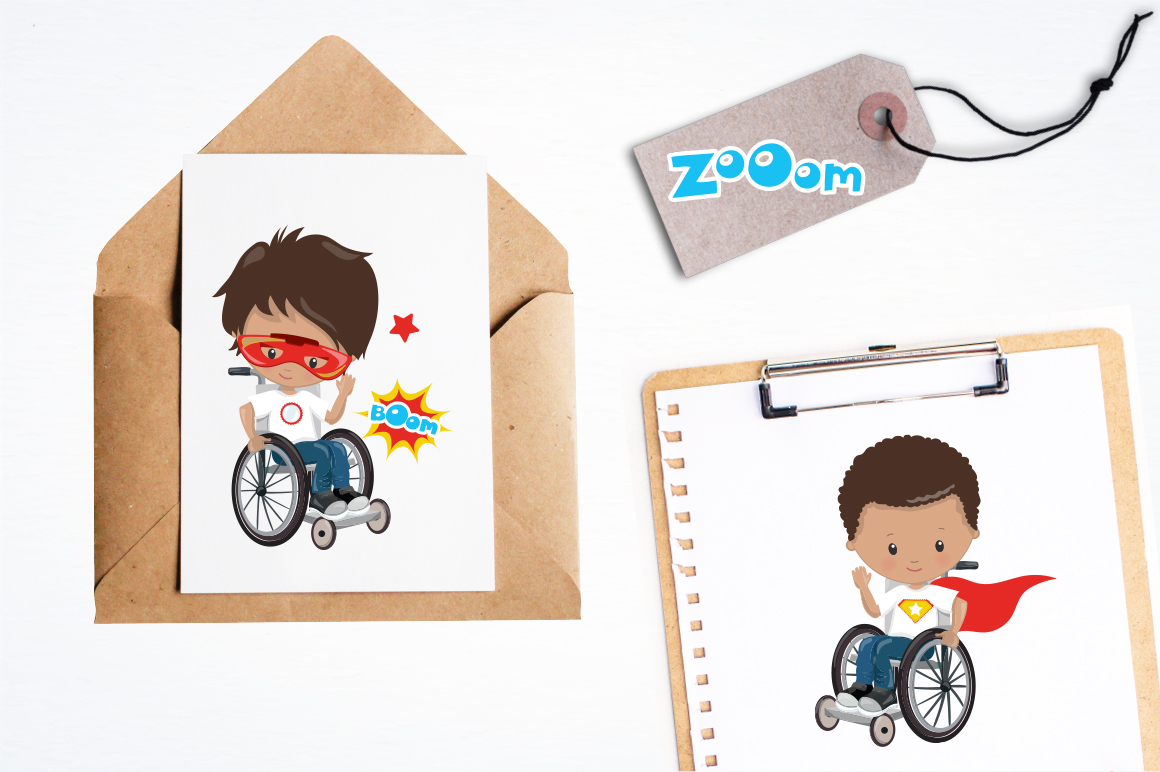 Superhero in wheelchair graphic and illustrations example image 2