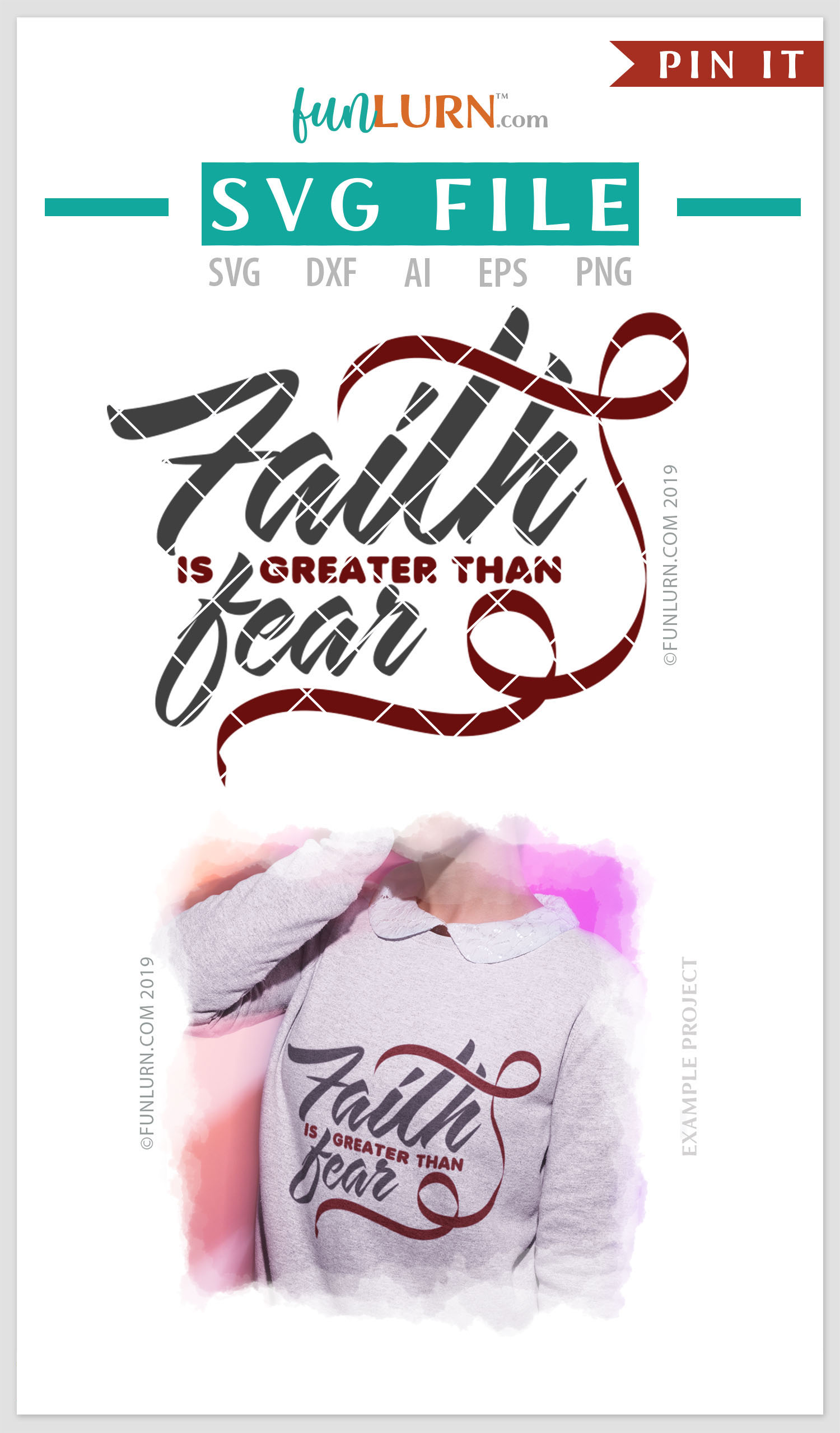 Faith is Greater Than Fear Burgundy Ribbon SVG Cut File example image 4