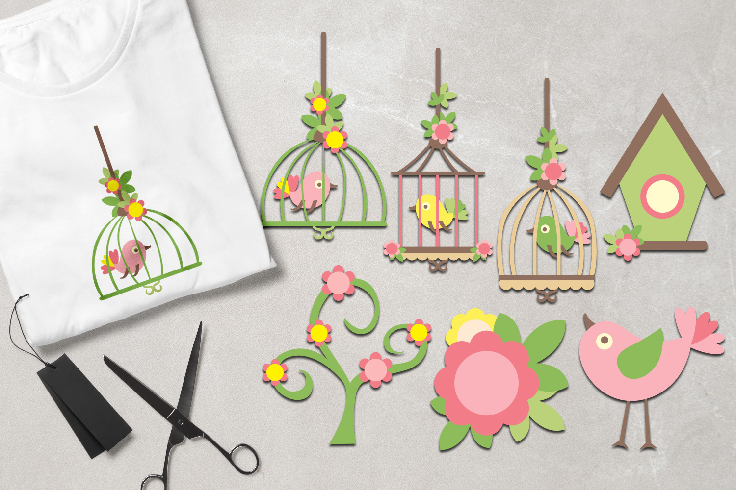 Pink lime spring birds and birdcages example image 1