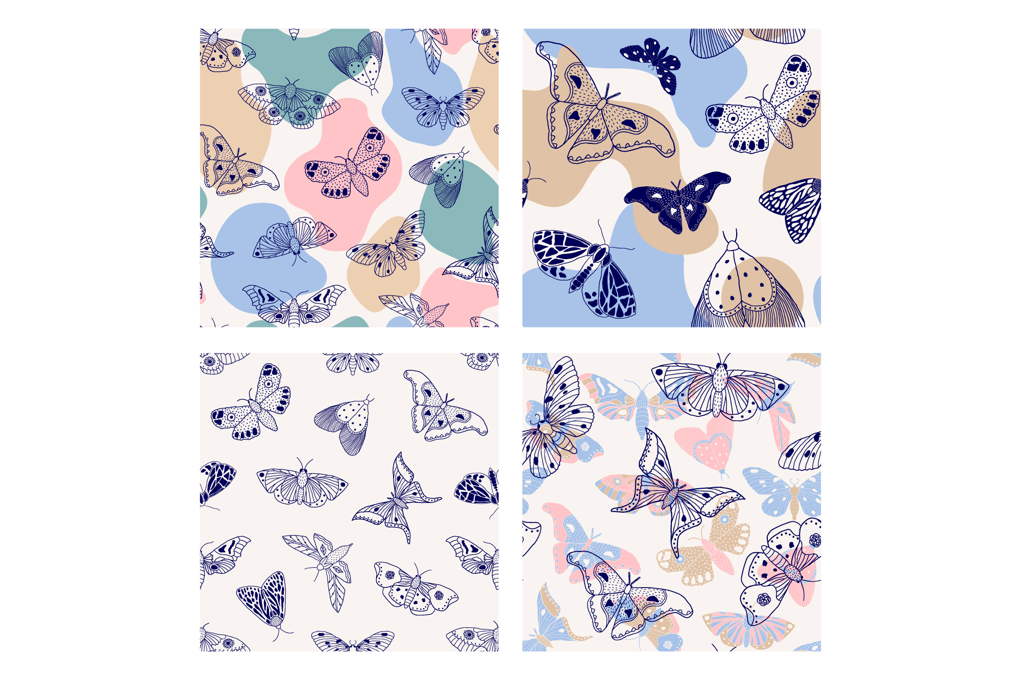 Moths and butterflies. Vector patterns. example image 11