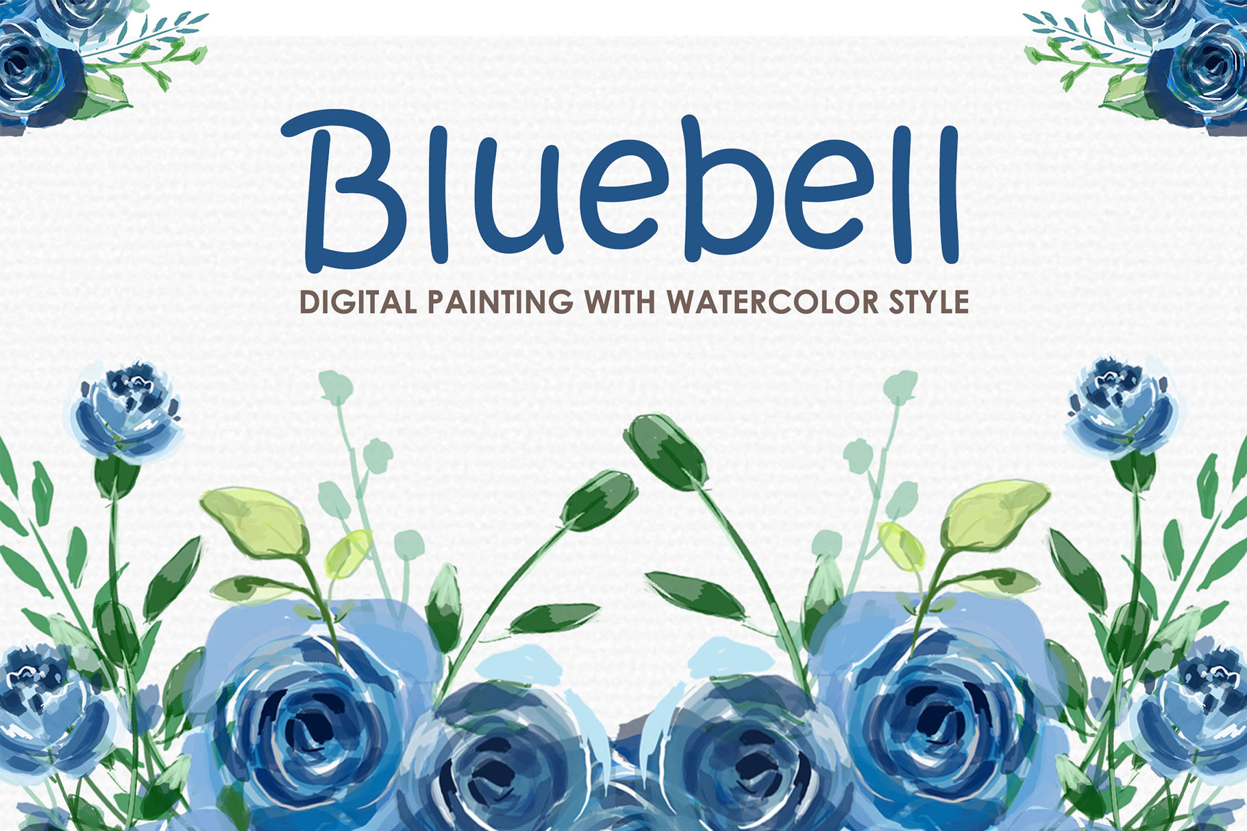 Bluebell - Digital Watercolor Floral Flower Style Clipart example image 1