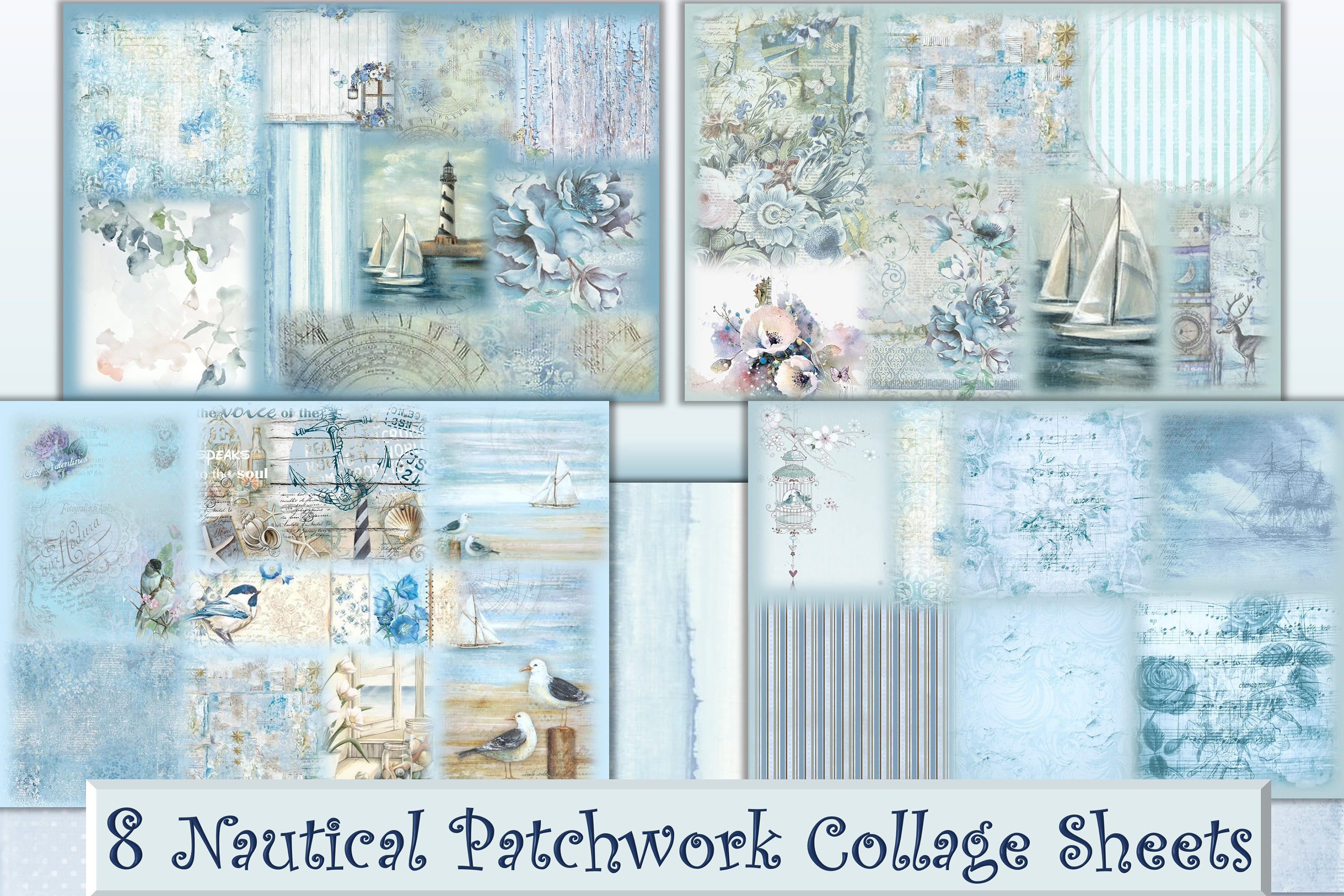 8 Nautical Collage Sheets 8.5 x 11 inches. JPEG and PDF example image 1