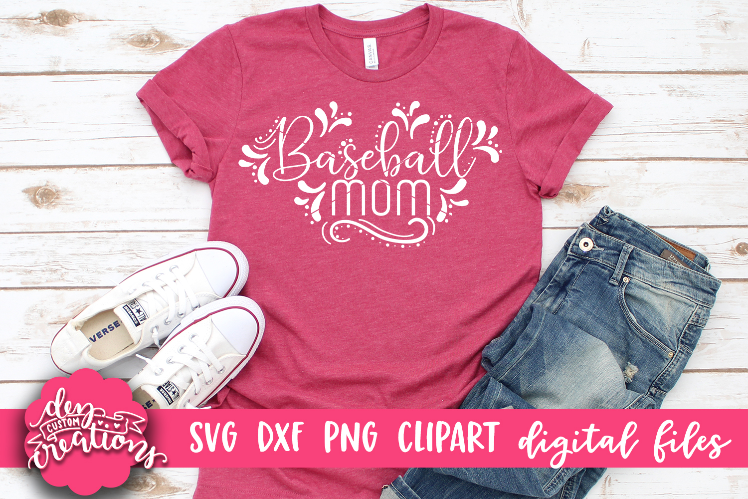 Baseball Mom - SVG DXF PNG digital Cut Files example image 2
