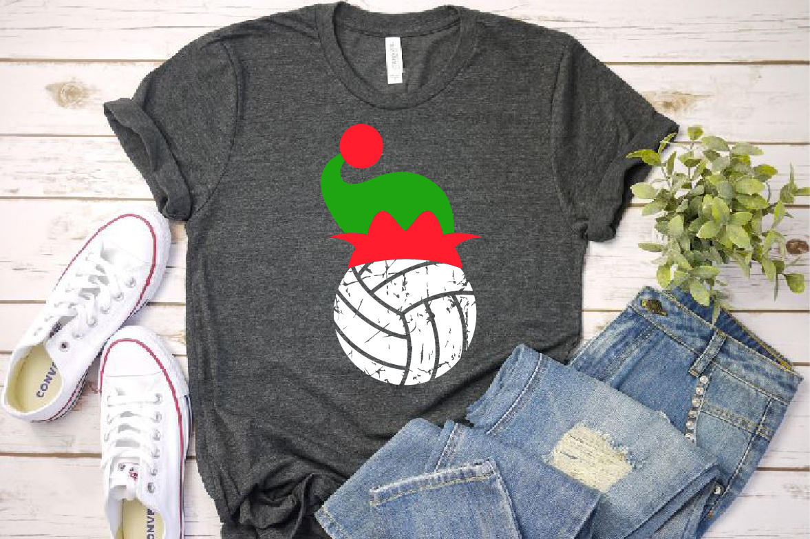 Volleyball Christmas Hat svg Elf sweater svg Elf 1047s example image 1