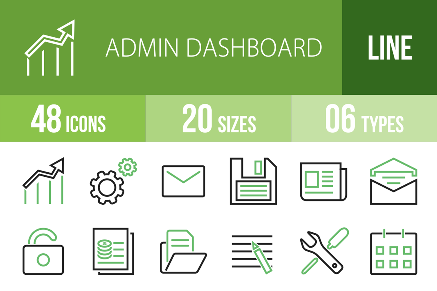48 Admin Dashboard Line Green & Black Icons example image 1