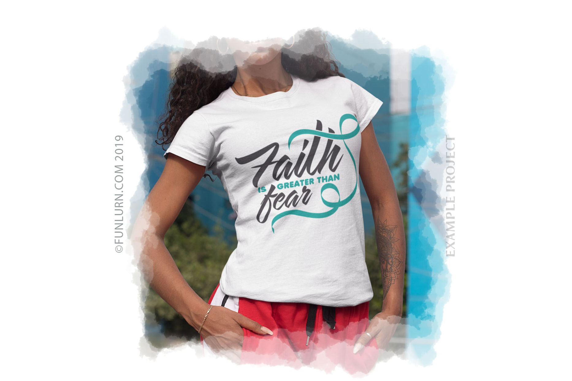 Faith is Greater Than Fear Teal Ribbon SVG Cut File example image 3