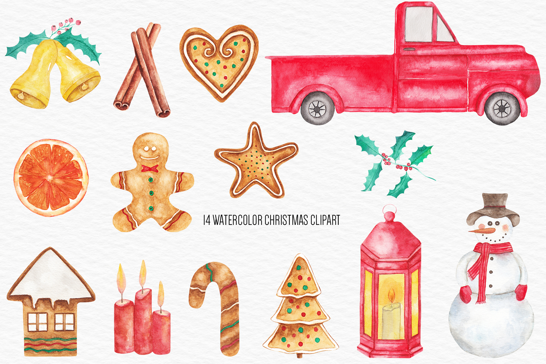Watercolor Christmas Clipart, Christmas Illustration example image 2