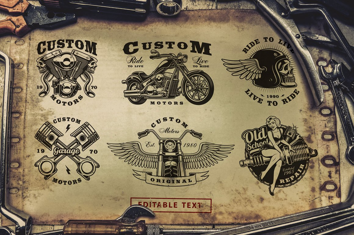 Motorcycle vector design set #1 example image 2