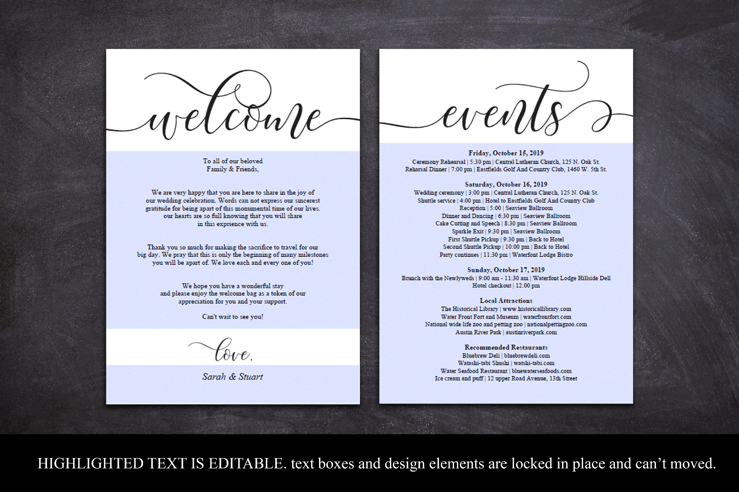 Wedding Welcome and Itinerary card, editable PDF template example image 4