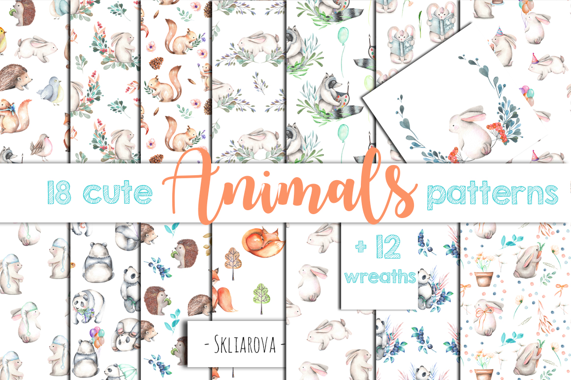 Cute forest Animals. Patterns + Wreaths example image 1