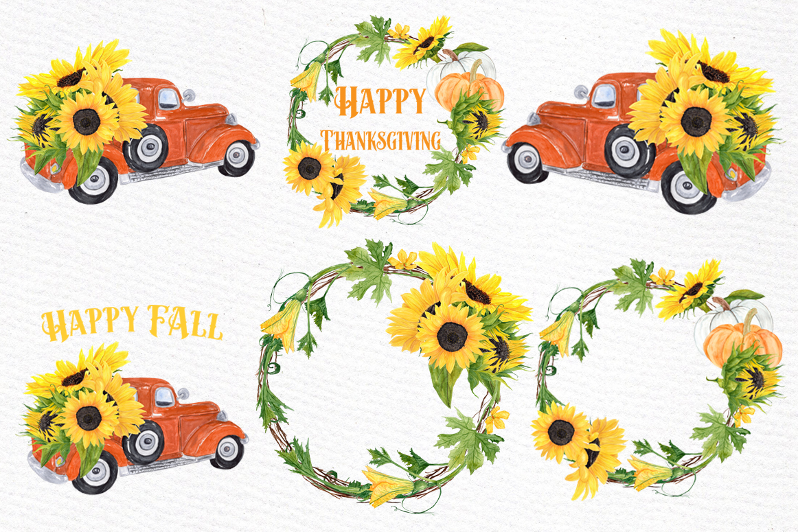 Sunflower clipart, SUNFLOWER WREATHS, Thanksgiving clipart example image 2