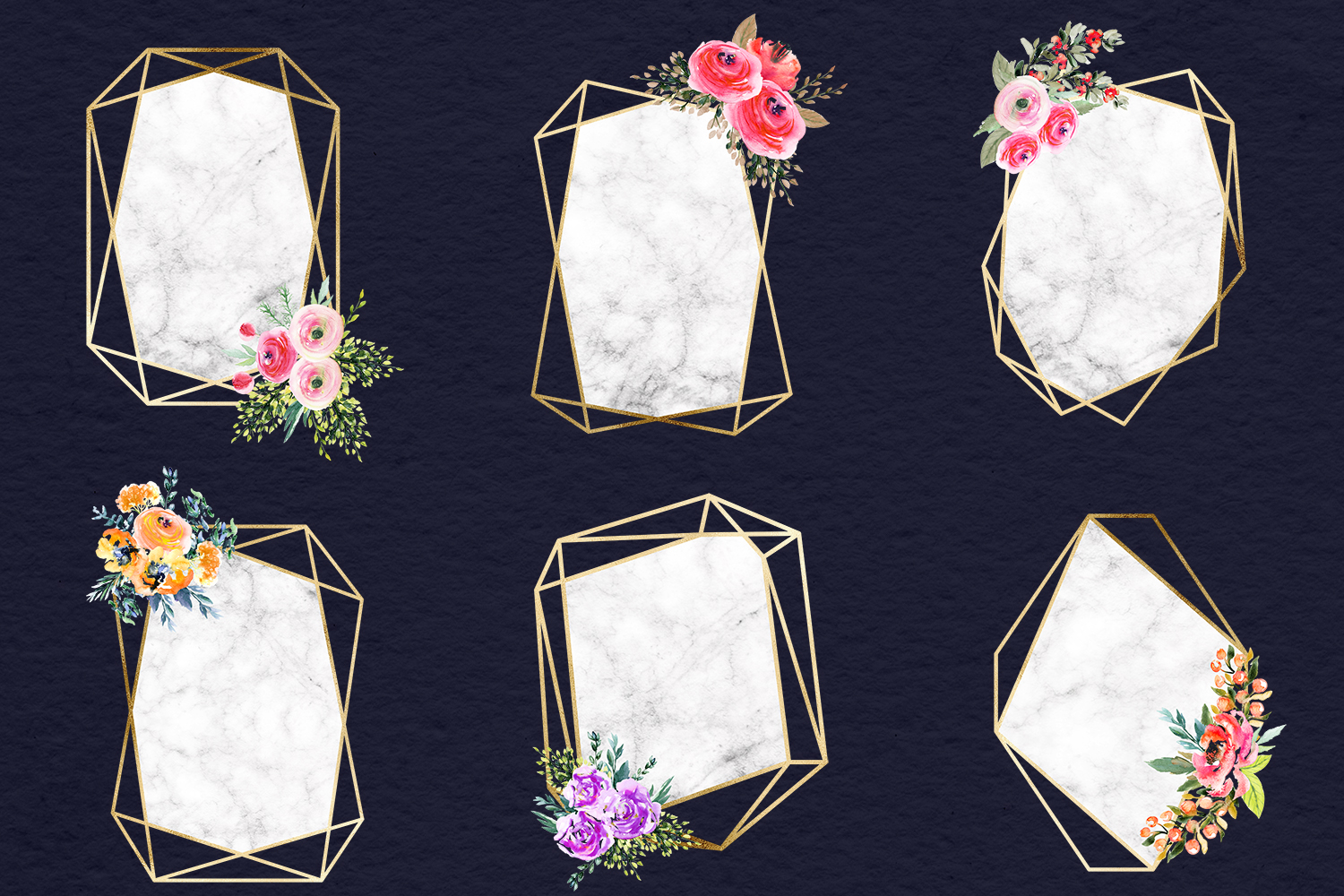 Watercolor Flowers & Gold Frames example image 3