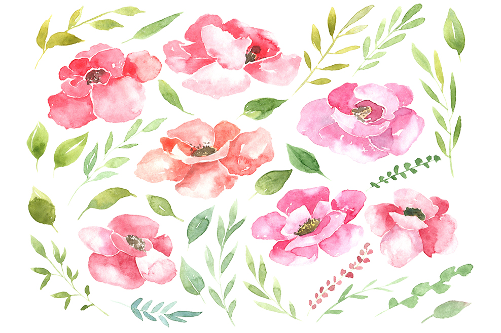 Watercolor pink & red flowers example image 2