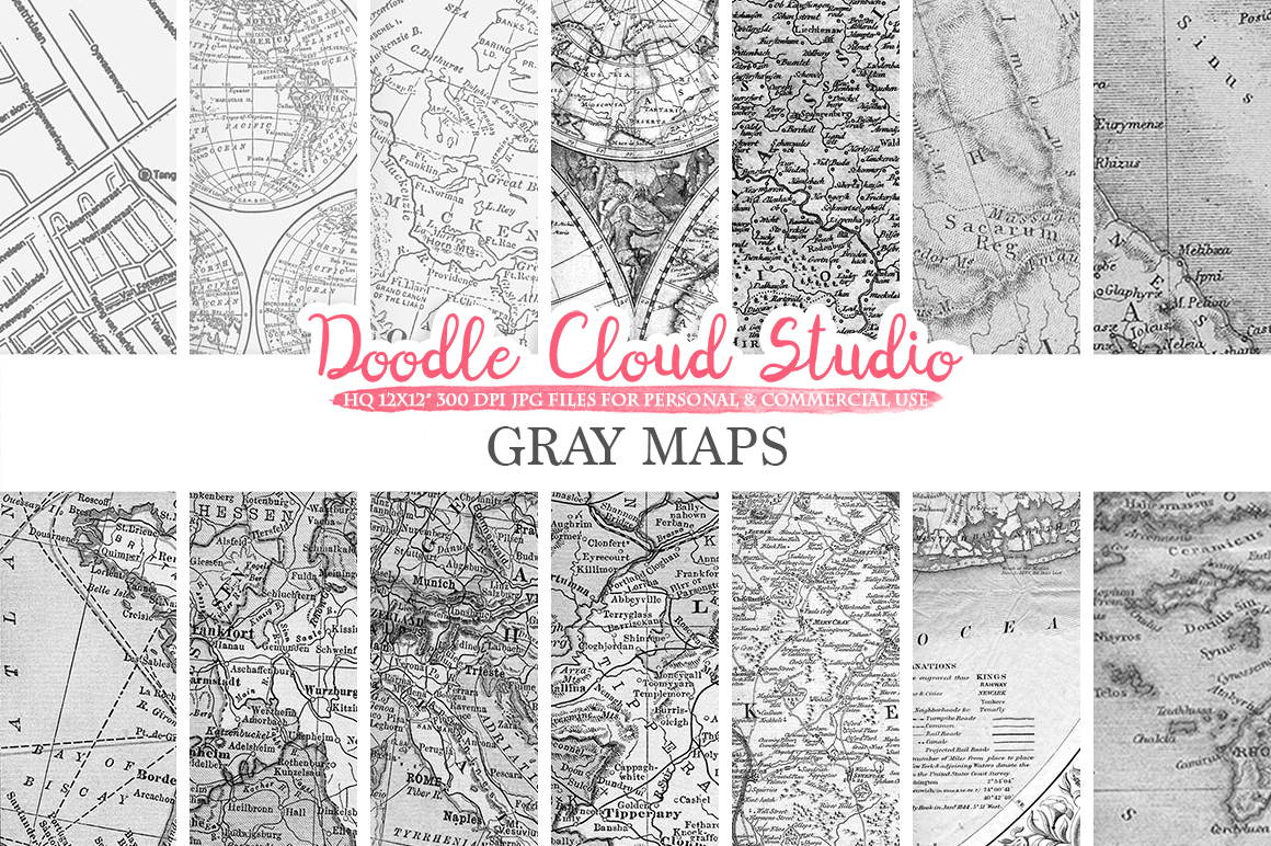 Gray Maps digital paper, Vintage Old World Map, City, Nautical, Geographic Shabby Grey textures Instant Download Personal & Commercial Use example image 1