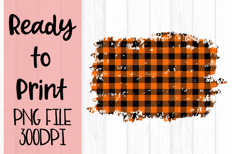 Orange Buffalo Plaid Frame Ready to Print example image 1