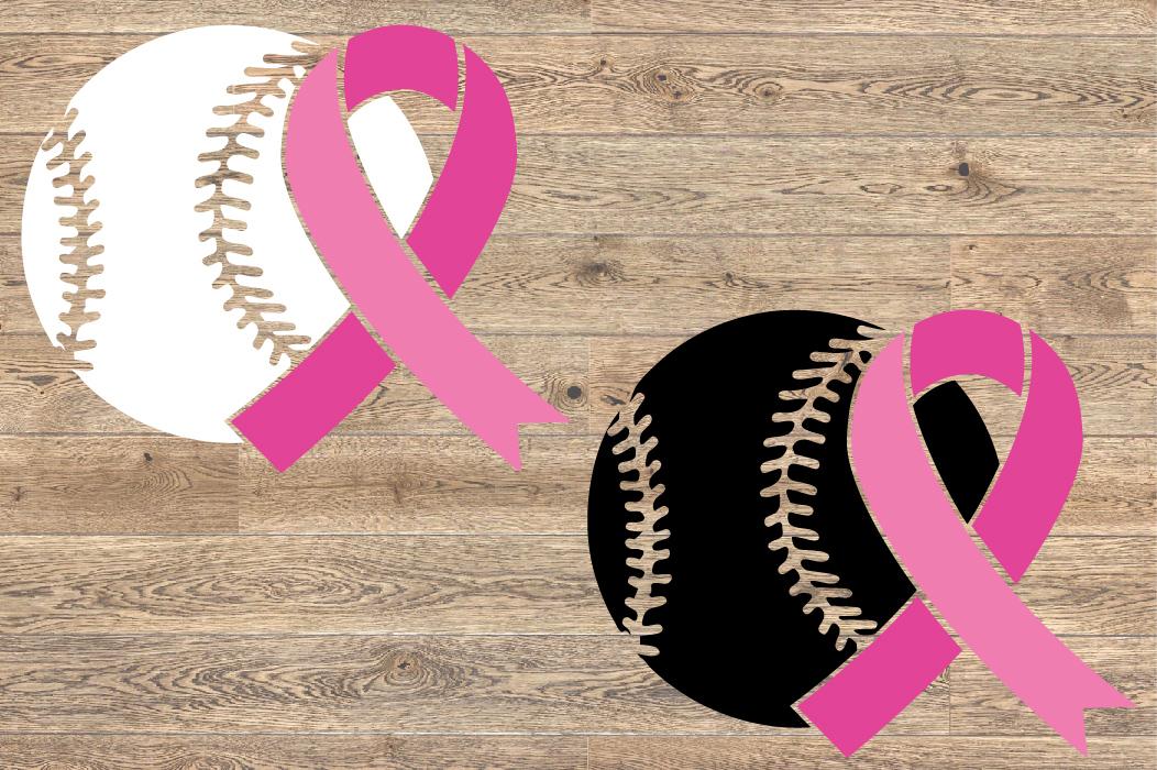 Baseball Tackle Breast Cancer Svg Awareness ribbon 1452s example image 2