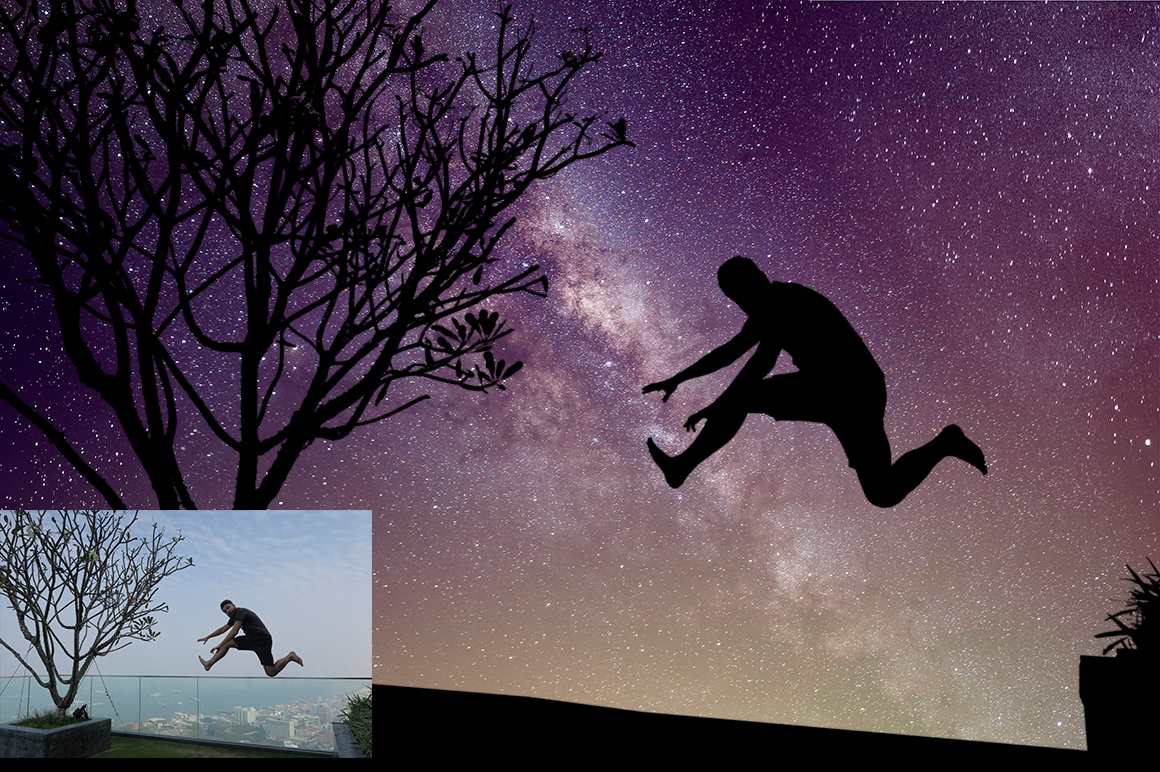 Night Sky Silhouette Actions example image 6