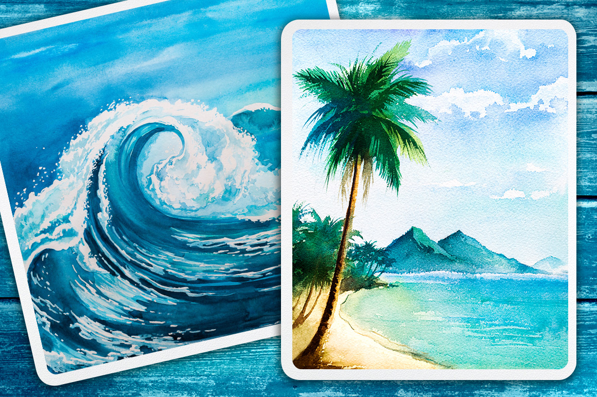 Seascapes. Watercolor illustrations. example image 5