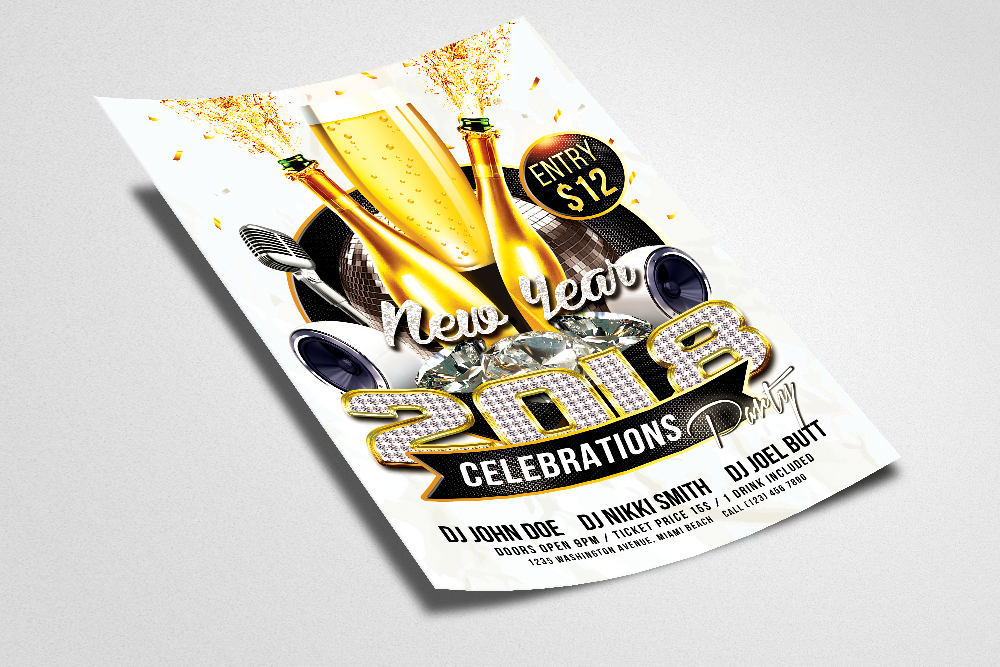 Happy New Year Flyer Templates example image 2
