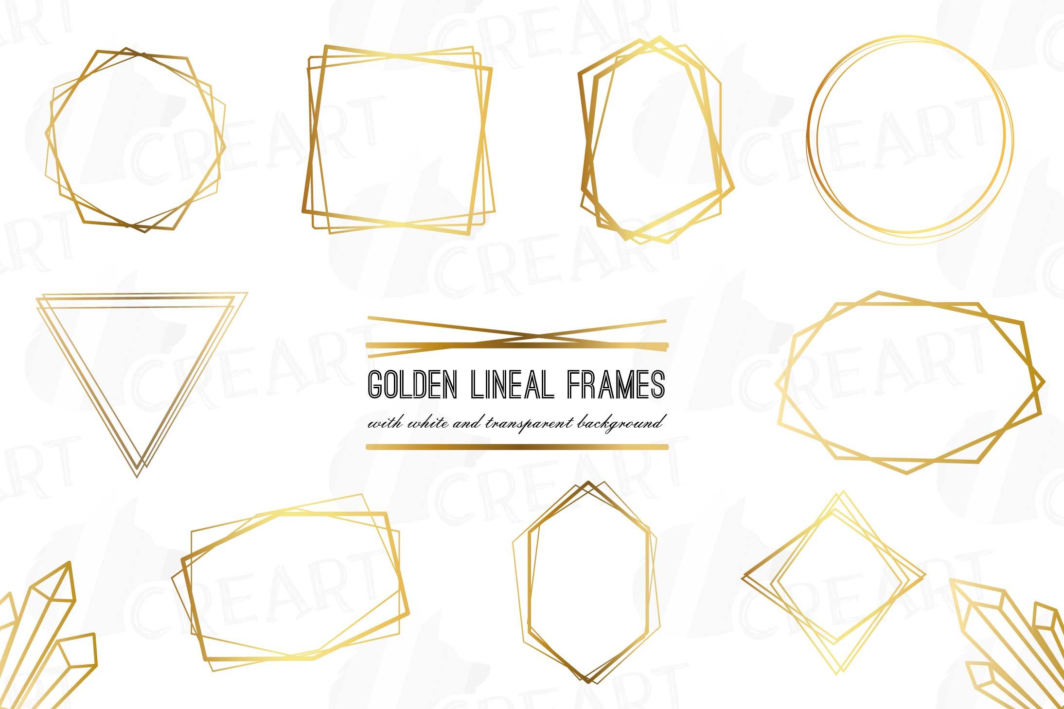 Elegant wedding geometric golden frames, lineal frames png example image 1