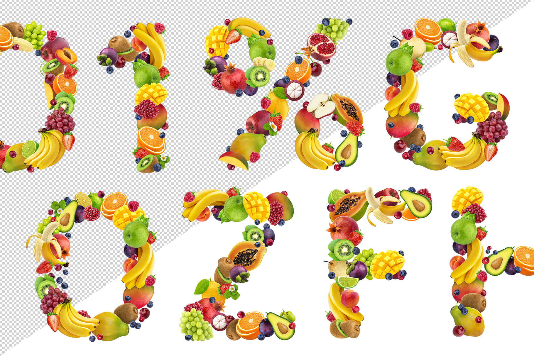 Fruits and berries alphabet, healthy alphabet example image 7
