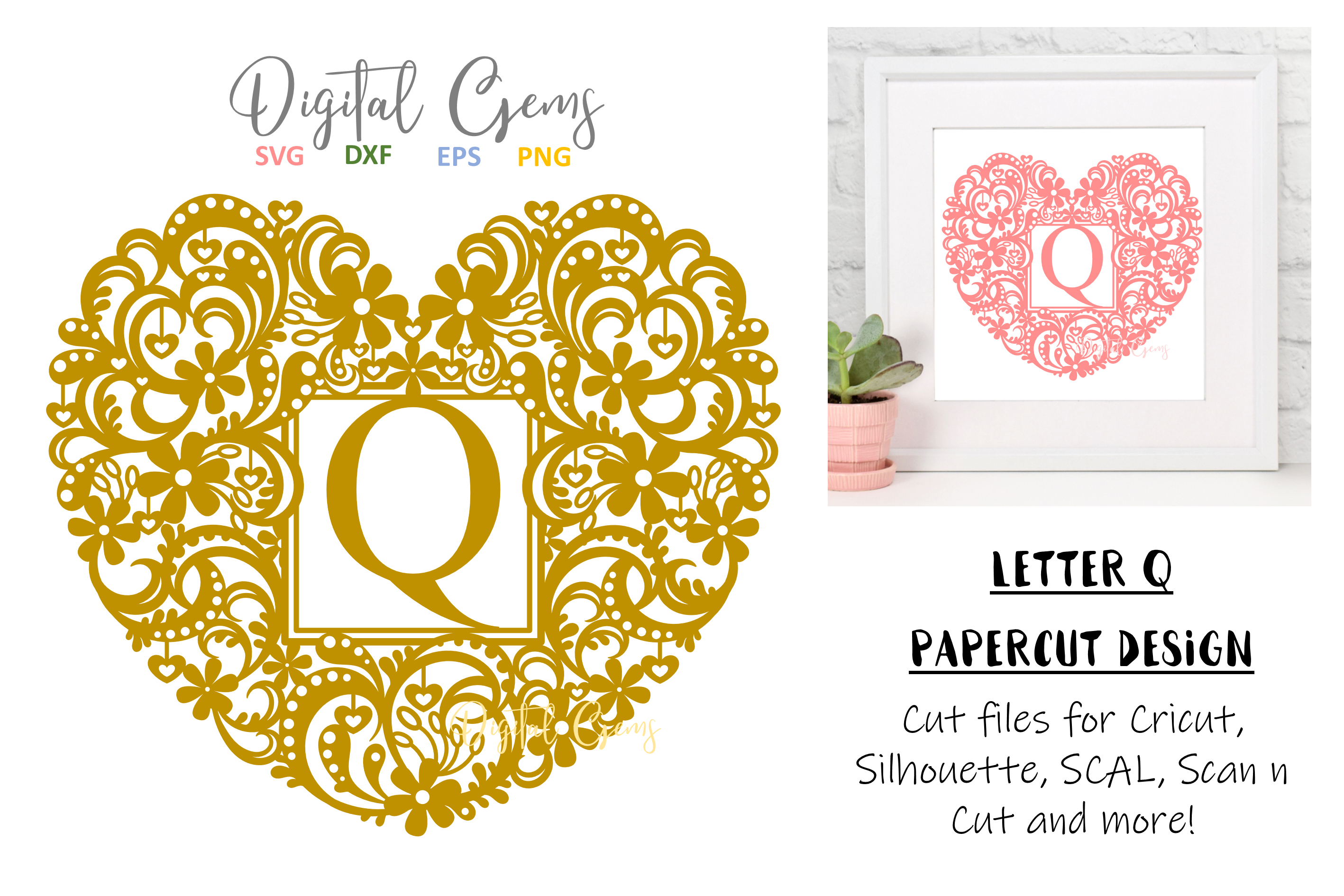 Letter Q paper cut design. SVG / DXF / EPS / PNG files example image 1