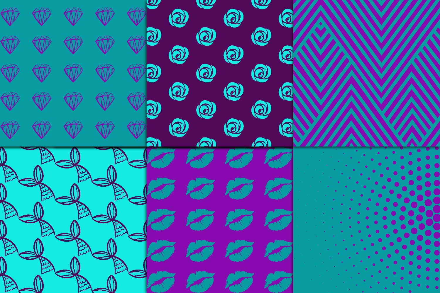 Purple & Teal Digital Paper example image 2
