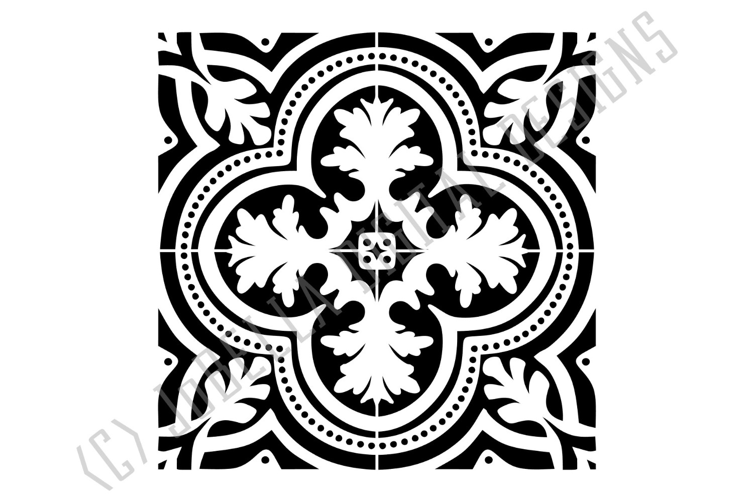 Spanish Tile 1 SVG, Stencil Template and Printable example image 3