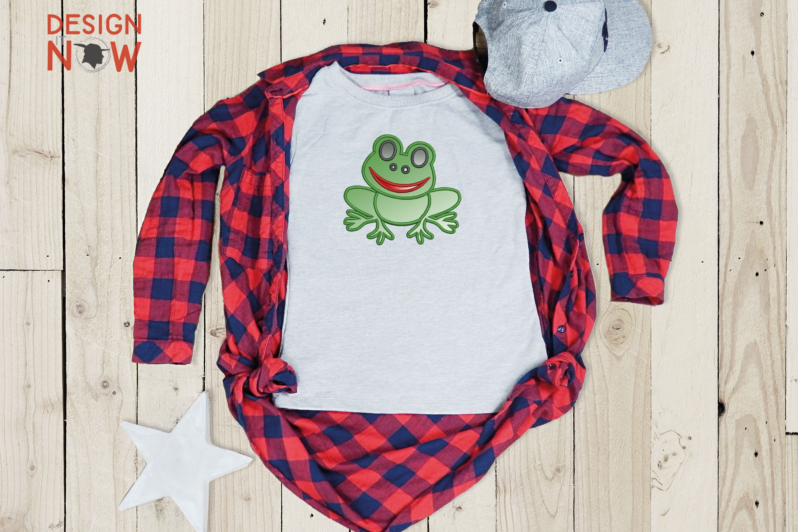 Frog Applique Embroidery Design, Embroidery Pattern example image 2