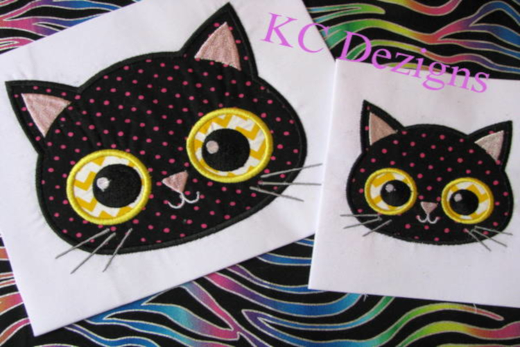 Yellow Eyed Halloween Cat Machine Applique Embroidery Design example image 1