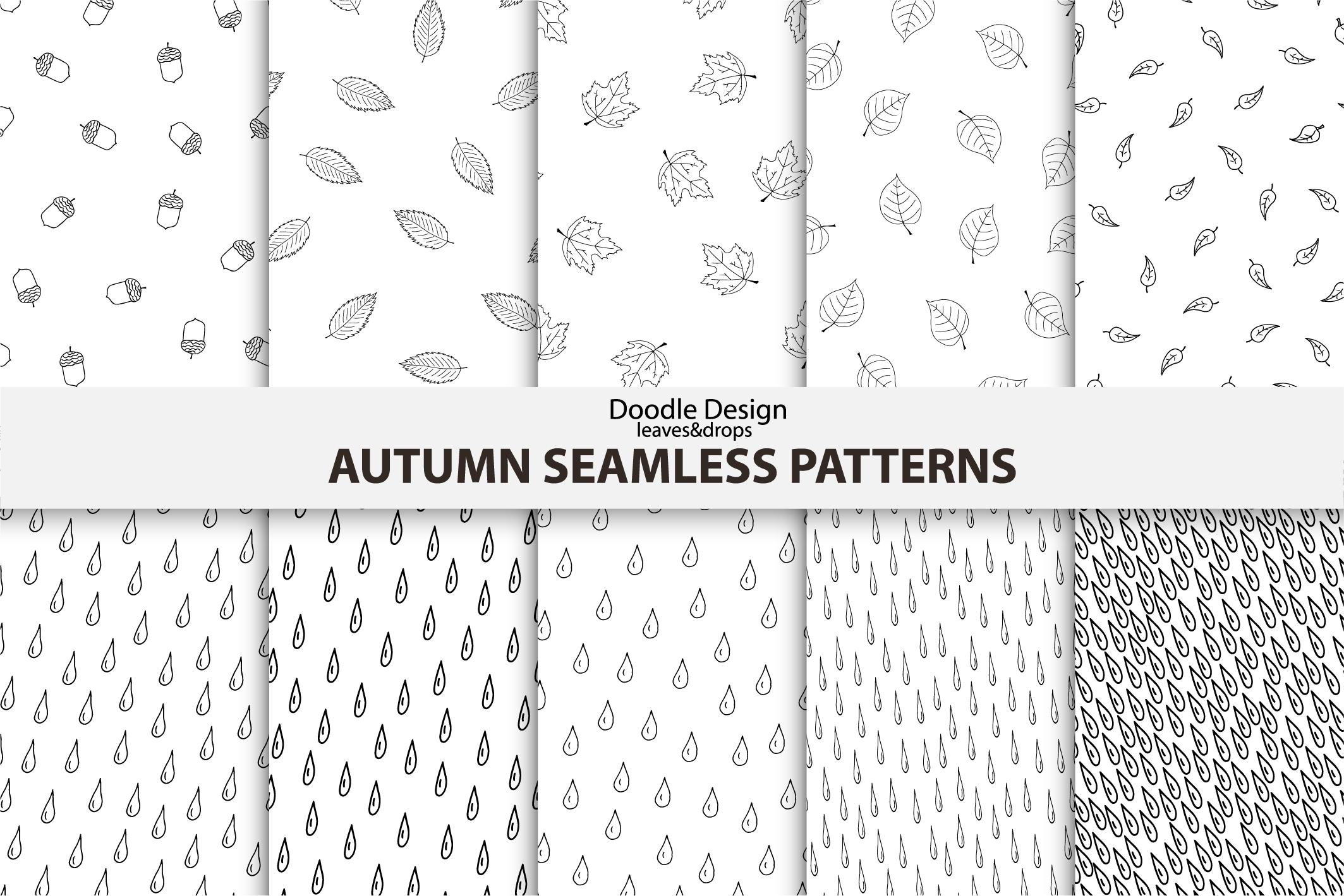 Autumn seamless patterns. Handdrawn example image 1