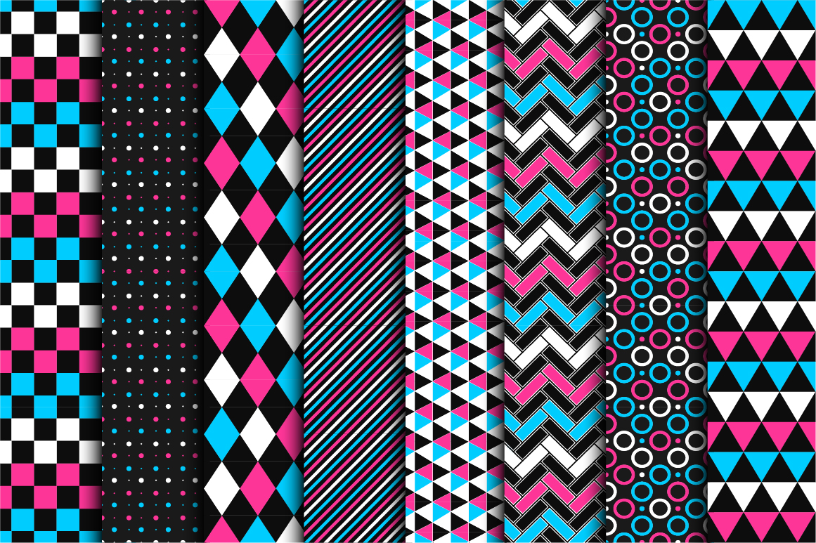 Geometric seamless color patterns. example image 1