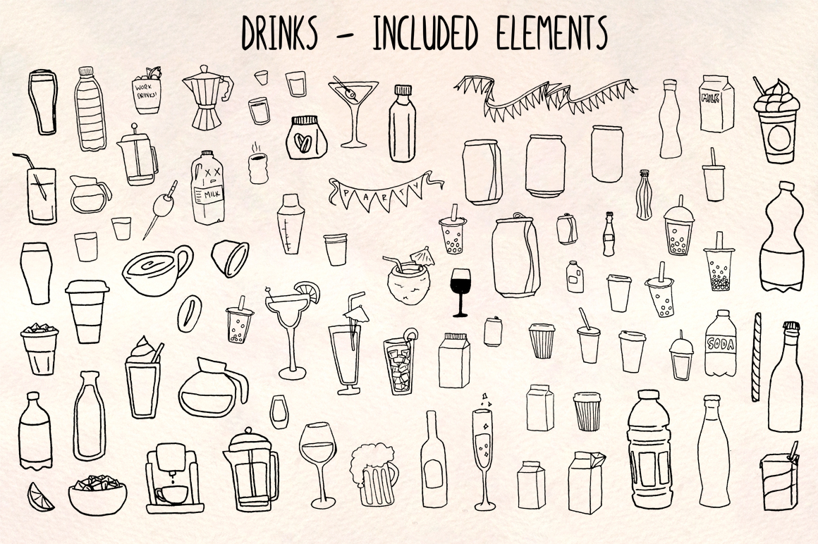 Drinks and Beverages 81 Hand Drawn Vector Graphics example image 1