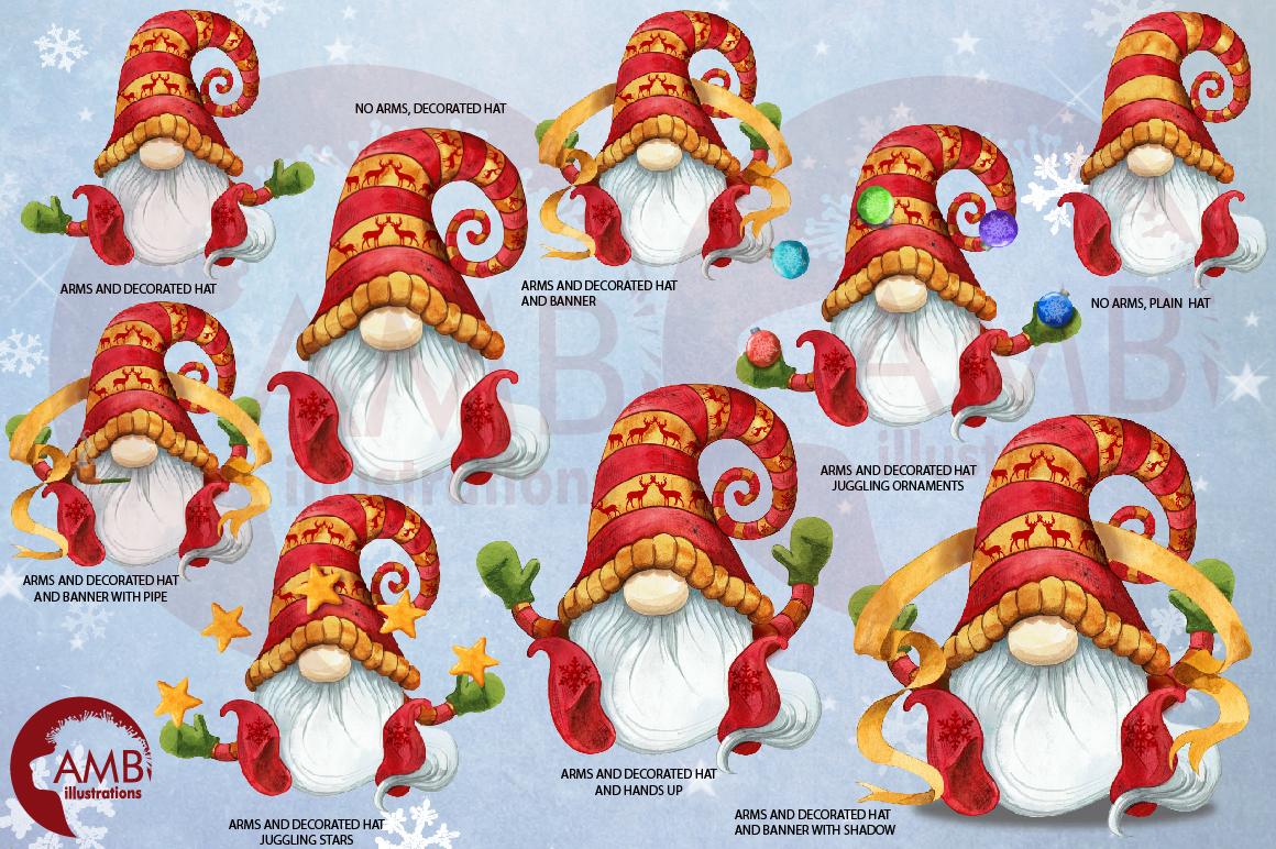Christmas Gnomes, Scandinavian Gnomes, Watercolour Gnomes, example image 3