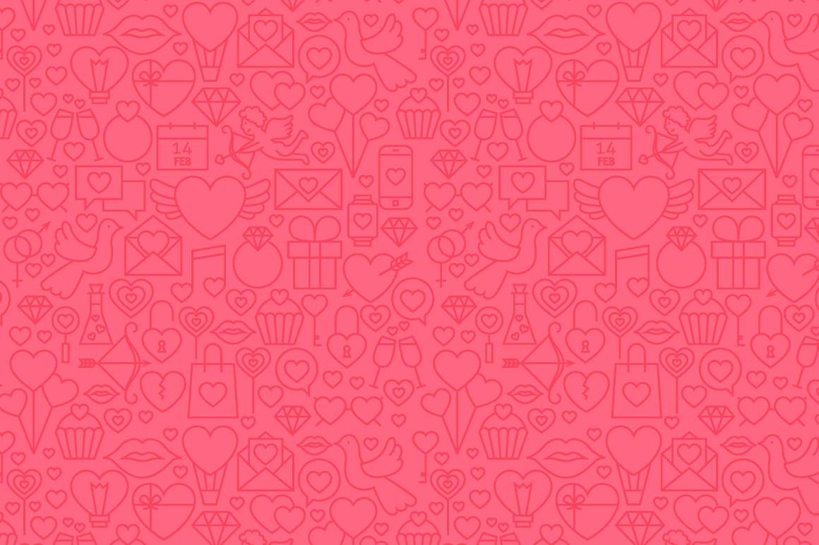 Valentine's Day Line Seamless Patterns example image 2