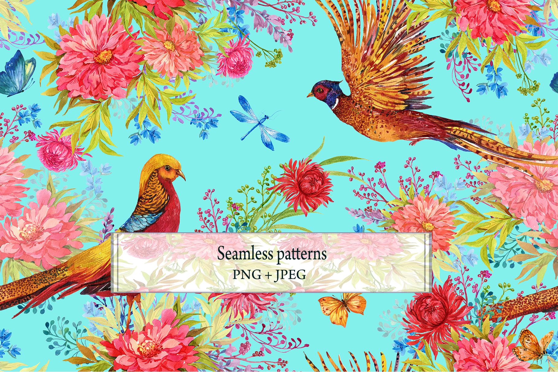 Pheasants Flowers Seamless Pattern example image 2