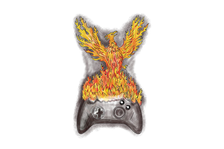 Phoenix Rising Over Game Controller Tattoo example image 1