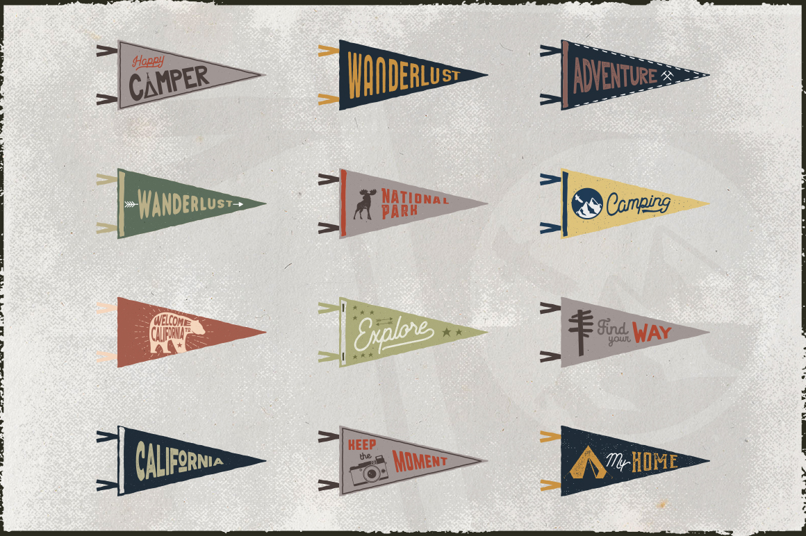 Vintage Pennants Set | Part 2 example image 3